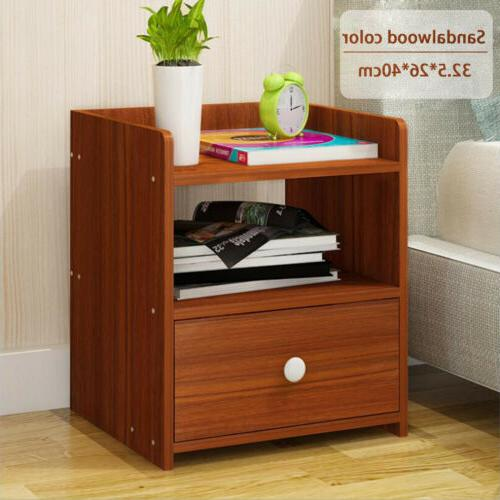 Night Stand 2 Layer W/1 Drawer Bedside End Table Organizer B
