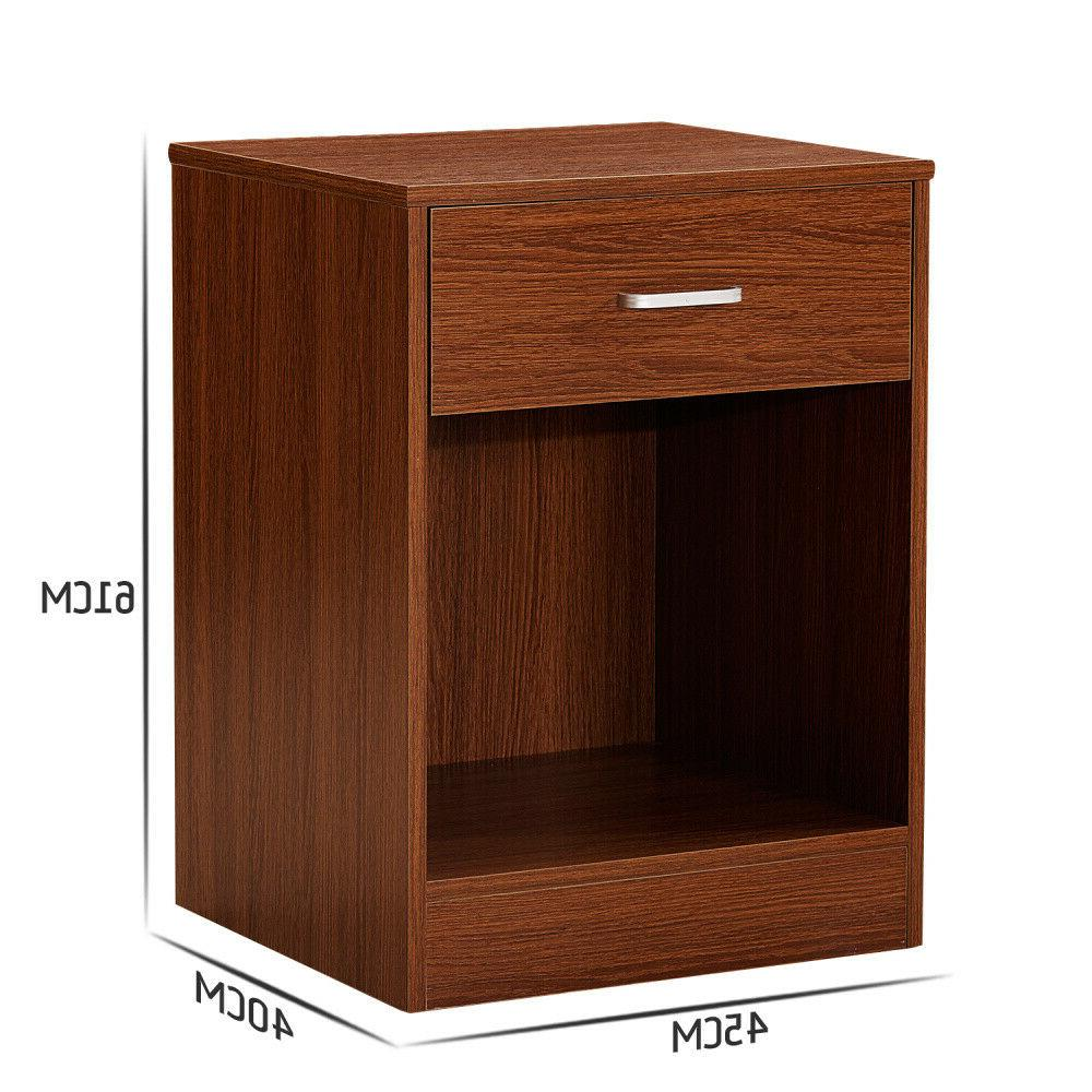 Night 2 W/Drawer Bedside Organizer Nightstand Set