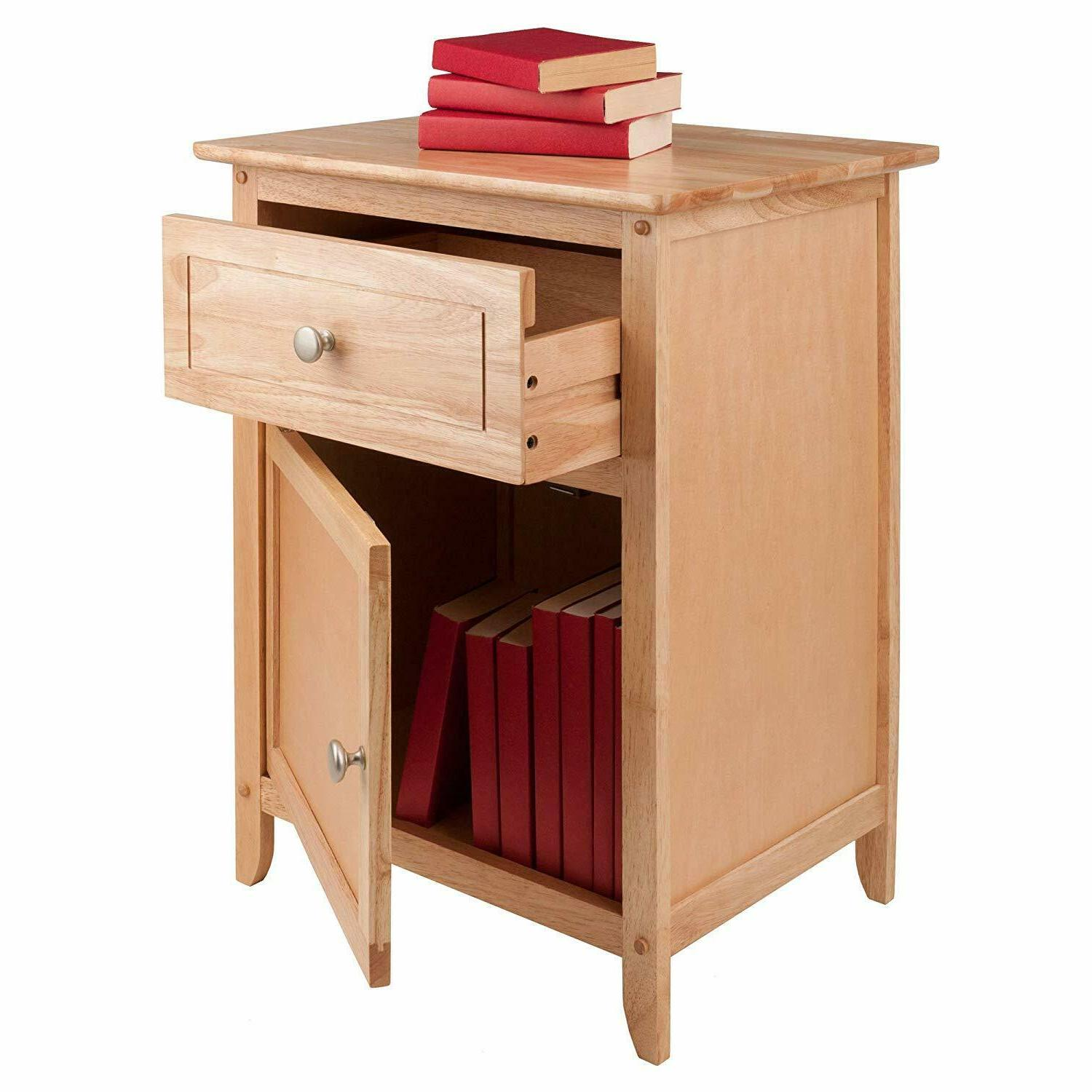 Night Stand Table Drawer End Storage Shelf Room