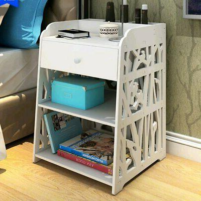 3 Layer End Side Bedside Table Nightstand Organizer with Dra