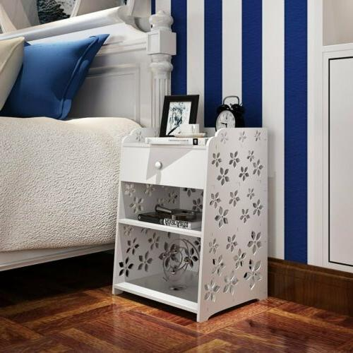 Nightstand Bedside End Table 3/2 Drawer Storage Shelf Bedroo