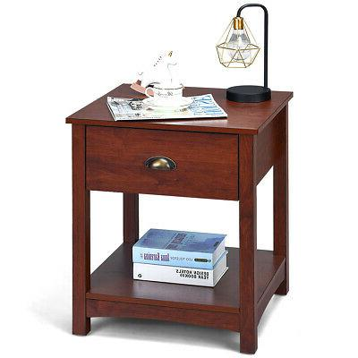 Retro Night Stand Bedside End Table Display Shlef w/Storage