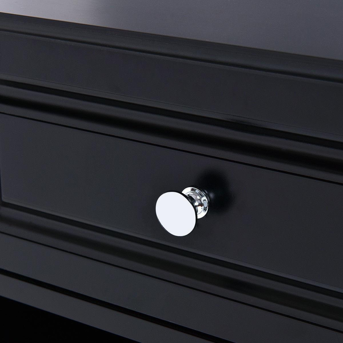 Night Stand Table Side Storage Black