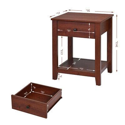 Stand Table Bedside Sofa Accent w/Drawer and Shelf