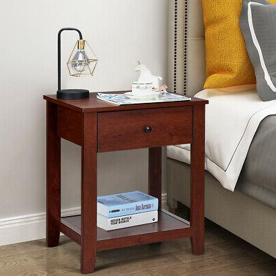 Set of 2 Stand Table Bedside Sofa Table w/Drawer and
