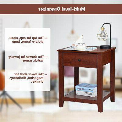 Set 2 Stand Side Bedside Accent w/Drawer and