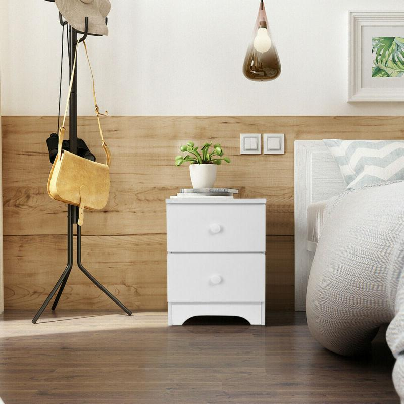 Wood Bedside Table Drawer Storage