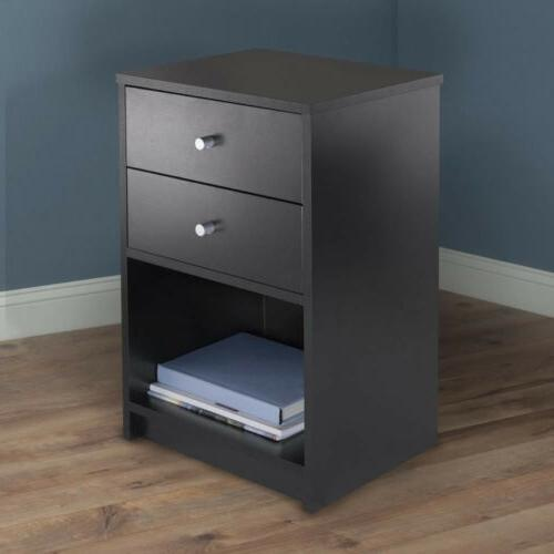Black Table Accent Nightstand Furniture Set Bedroom 2 Drawer