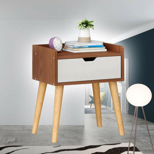 Nightstand Bedside End Table Storage Drawer