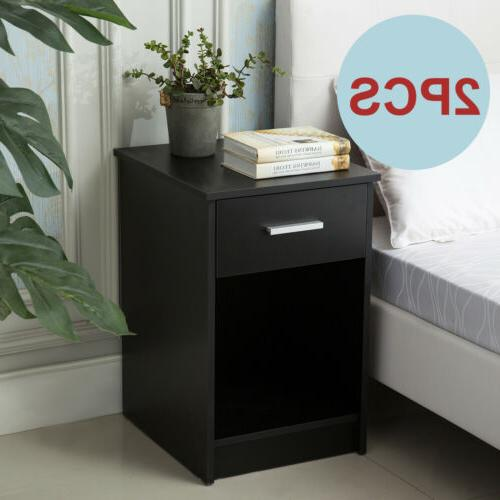 Set of 2 Modern Black Nightstands End Table Shelf with Drawe