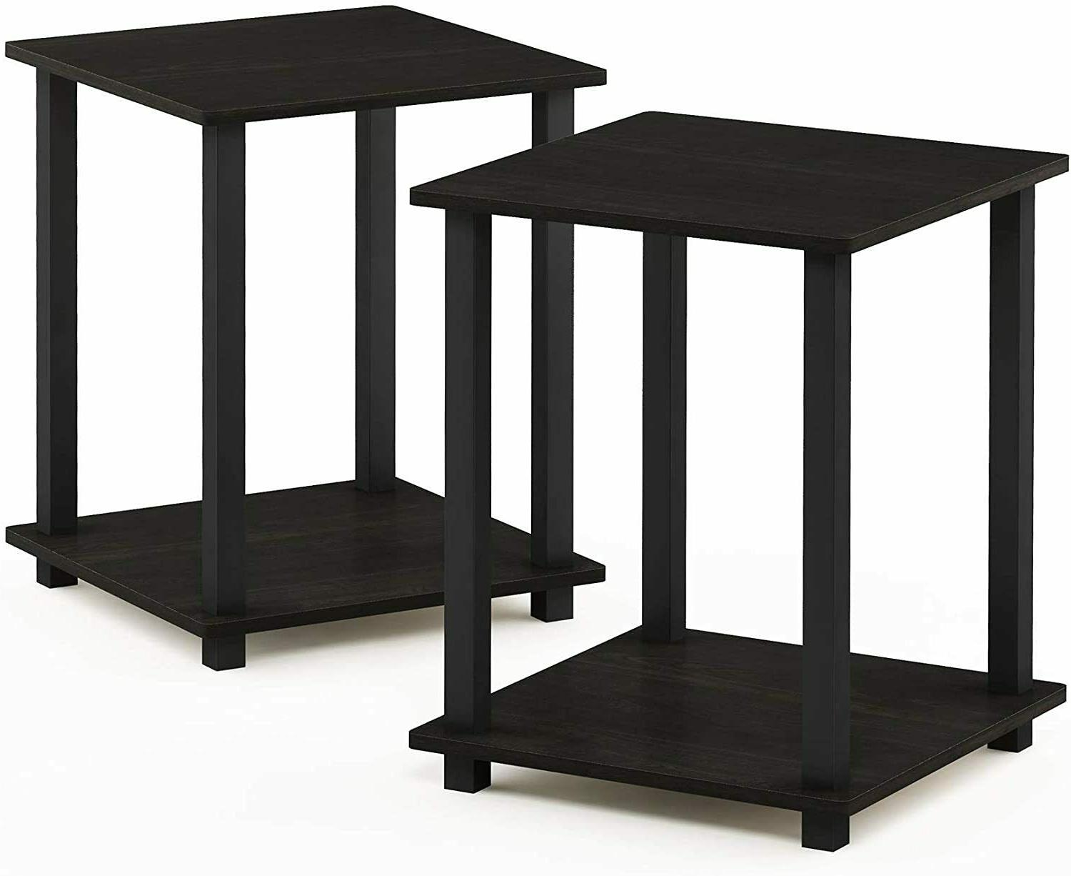nightstand set of 2 end table espresso