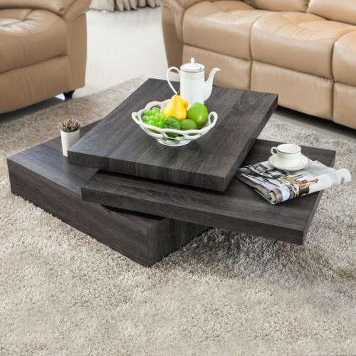 Modern Black Oak Square Rotating Wood Coffee Table with 3 La