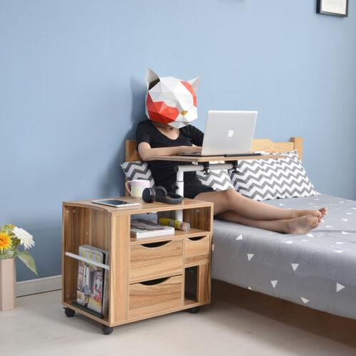 Angle Height Rolling Laptop Wooden Bedside