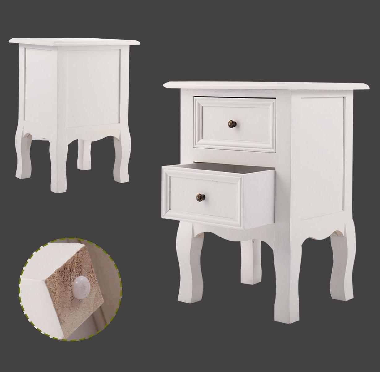 Pair of Bedside End Wood Bedroom White W/2 Drawer