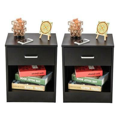 pair of night stand bedside end table