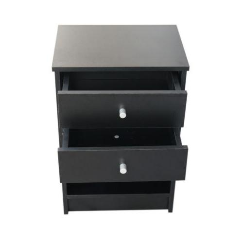 Black Nightstand 2 Drawer
