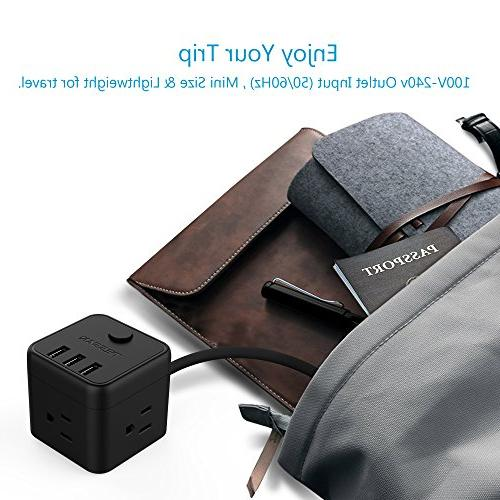 Cube Portable Power with 3 USB Port & Switch Control, 5 Ft Extension for Desktop & Travel Cruise Ship - Black