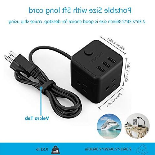 with USB & Switch Control, 3 Outlet 5 for & & & Cruise Ship - Black