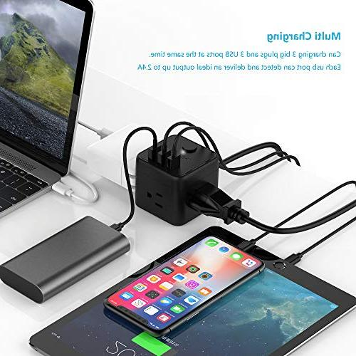 Cube Portable Strip & Control, Outlet Charging Station 5 for & & Cruise Ship