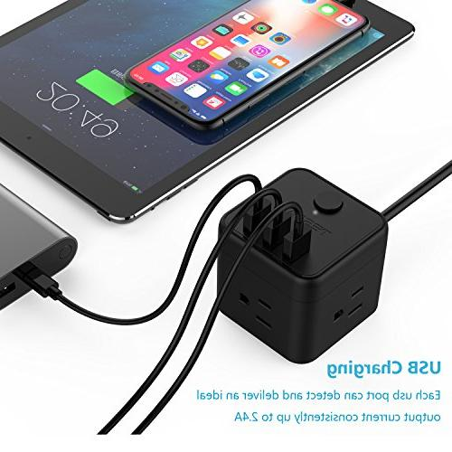 Cube Portable Power Strip with Port & Control, 3 Outlet 5 Ft for & Ship
