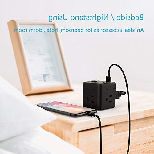 Cube with 3 USB & Outlet Station for Nightstand & & Ship
