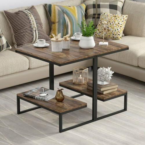 Rectangular Rustic End Table with Night for Room