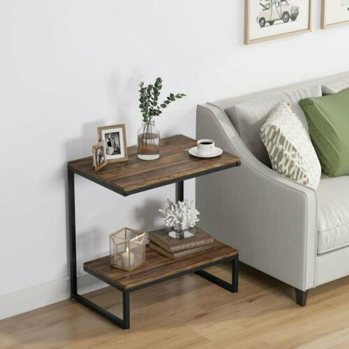 Rectangular Rustic Table with 2Tier Retro Night Room