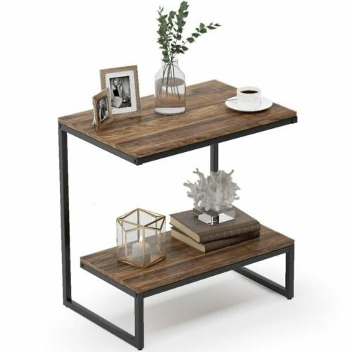 rectangular rustic end table with 2tier shelf