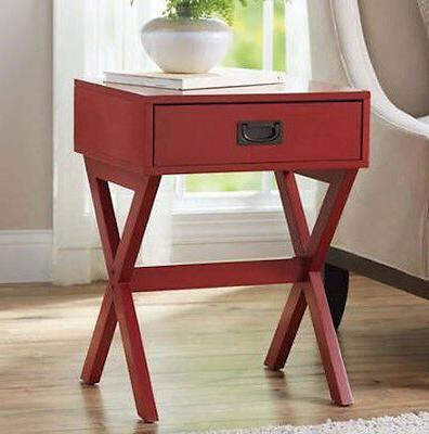 Red Contemporary Accent Table Side End Sofa Modern Room Livi