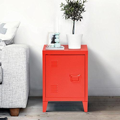 red metal nightstand cabinet side
