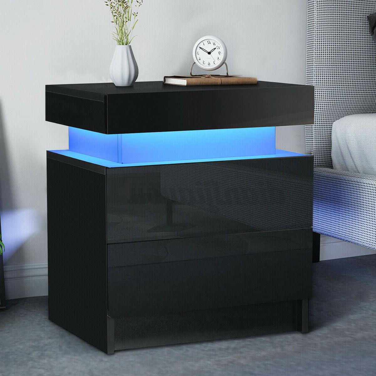 WOODY RGB LED Nightstand with 2 Glossy Drawer Bedroom Bedsid