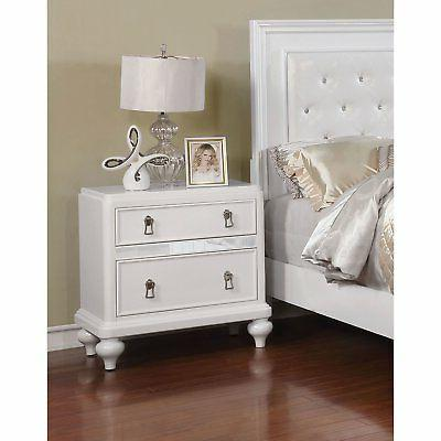 Furniture of America Traditional Mirrored Nightstand