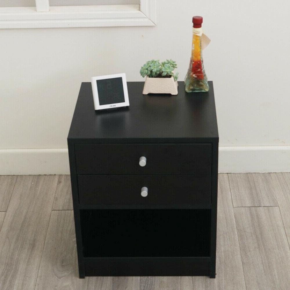 Round Handle Night with Two Drawer Black