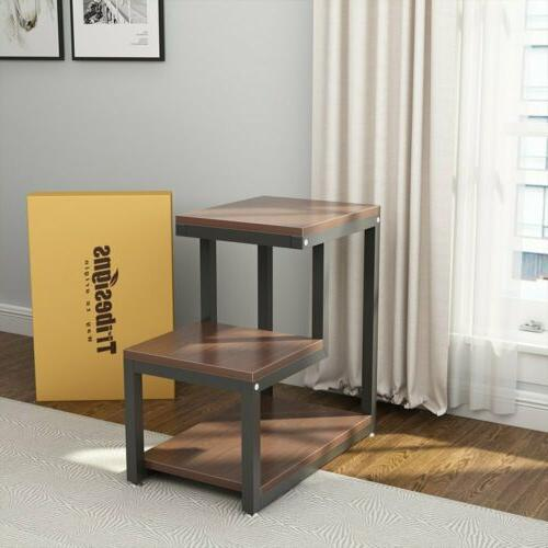 Living Room 3-Tier Side Table Night Stand with Storage Shelf
