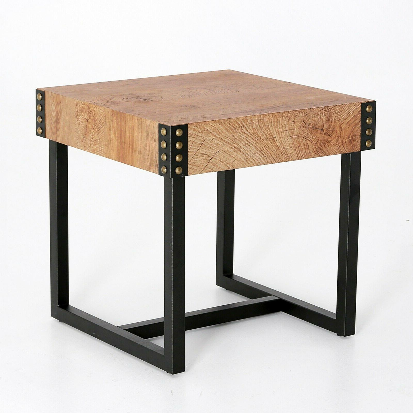 Rustic Night Stand End Table Industrial SideTable for Living