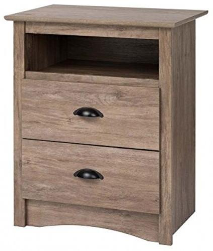 Salt Spring Tall 2 Drawer Nightstand In Drifted Gray Bedroom
