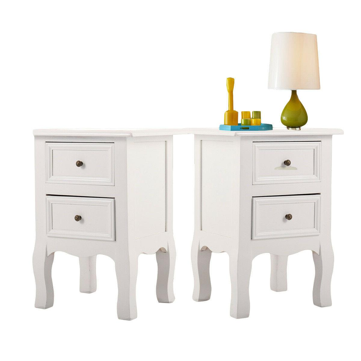 Set of 2 Drawers Table with White Wooden Bedside Door Storag