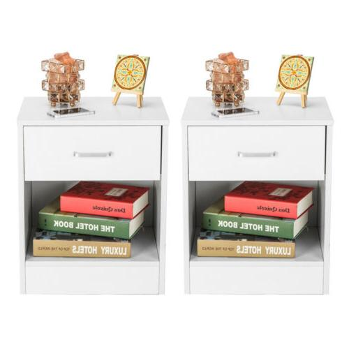 Set of End Bedside with Storage Drawer End Table