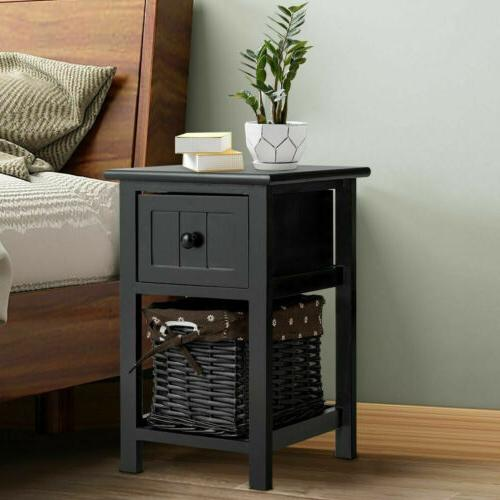 Set of 2 Night Stand 2 Layer 1 Drawer End Table Bedside Orga