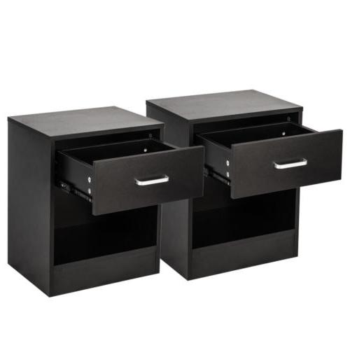 Set of 2 Night Stand End Organizer Bedroom Nightstand