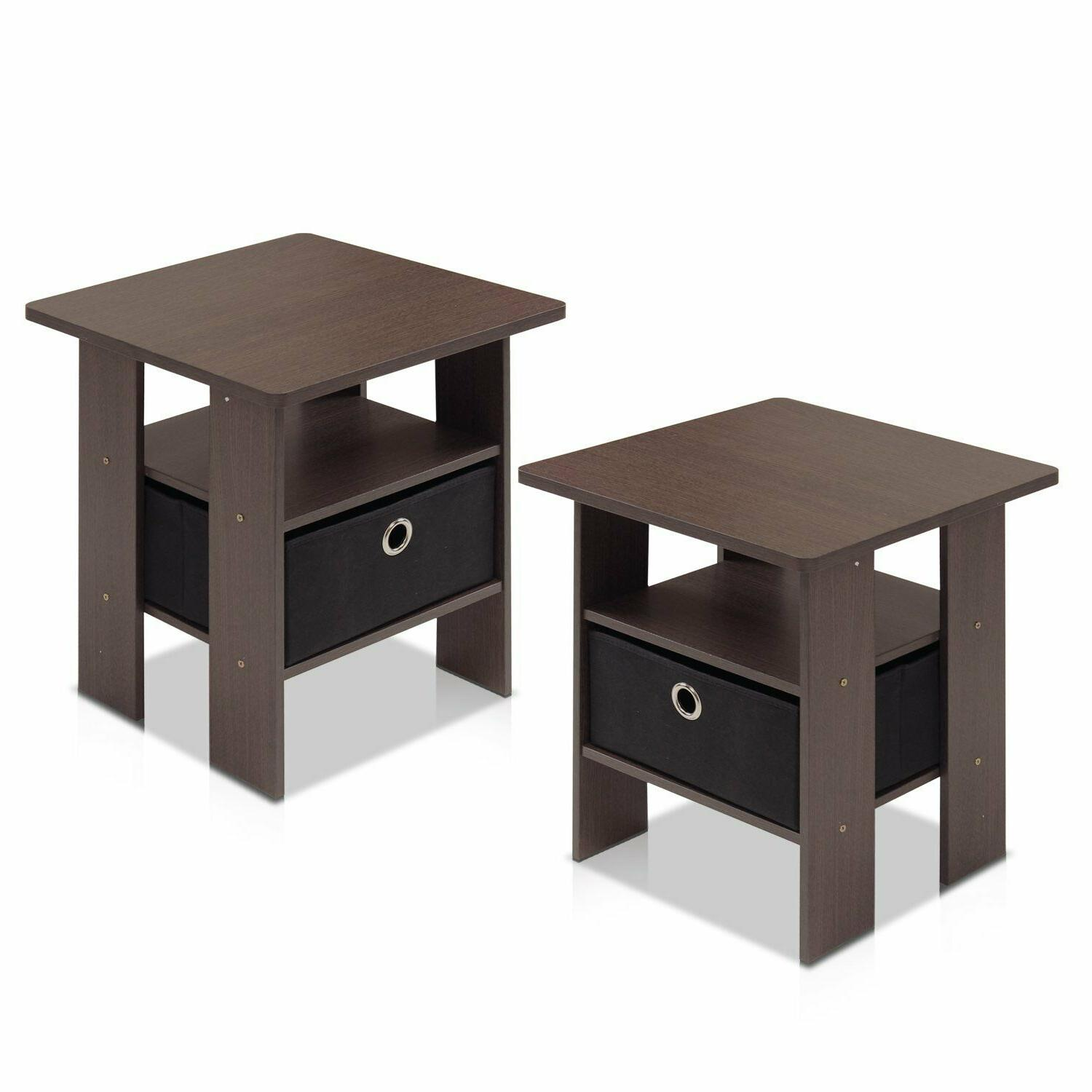 Set 2 Night Stand 2 Bedside End Table Nightstand