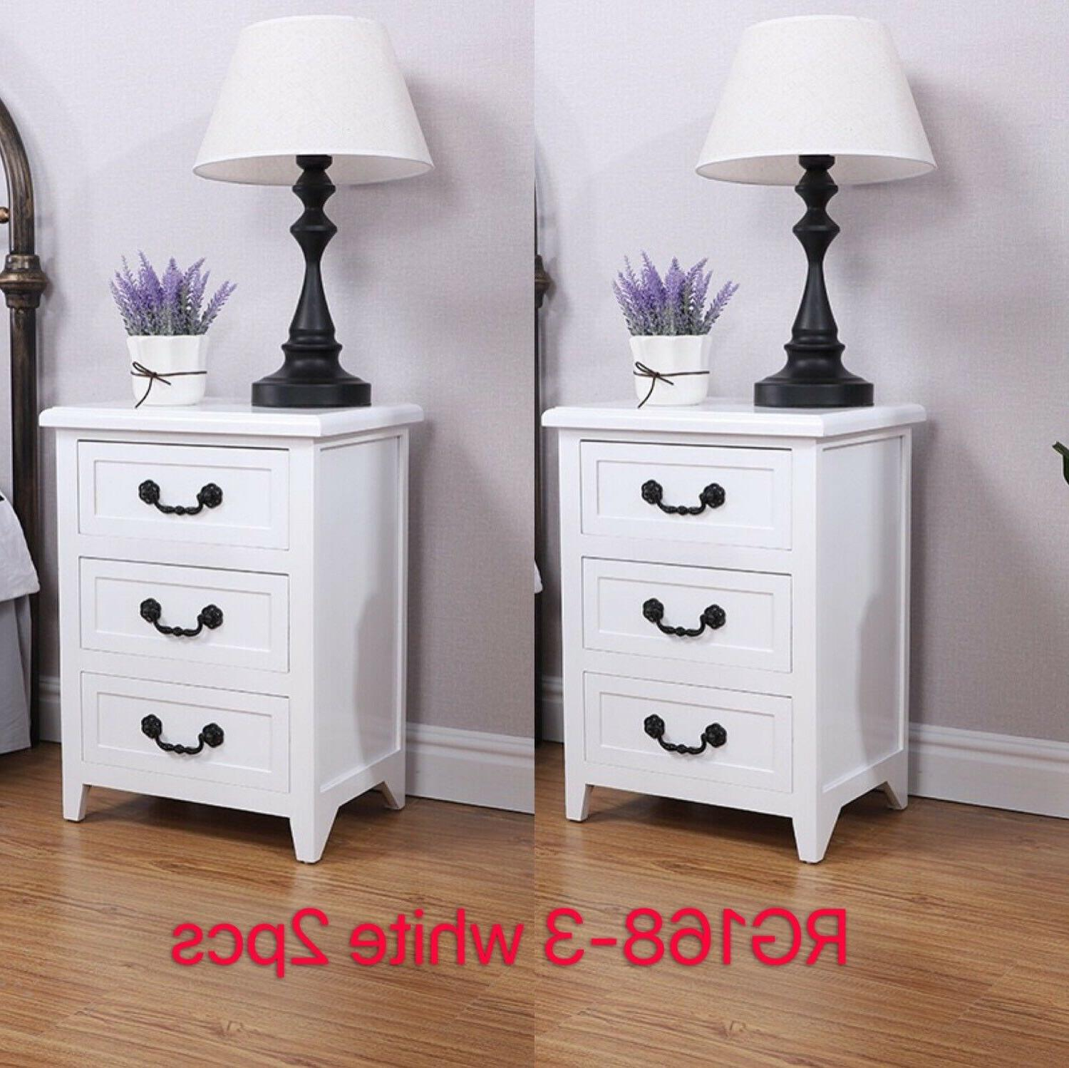 Set OF End Wood Side Bedside White W/3 Drawer