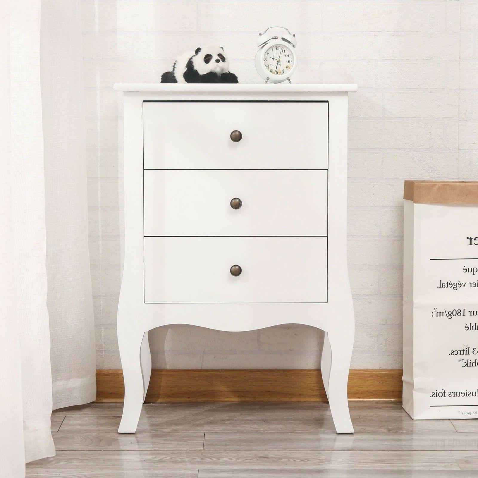 Set OF 2 Nightstand End Bedroom Wood White W/3
