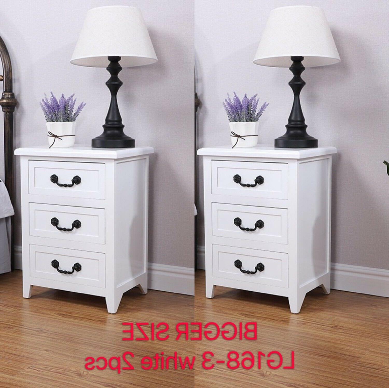 Set OF 2 Nightstand End Wood W/3 Drawer
