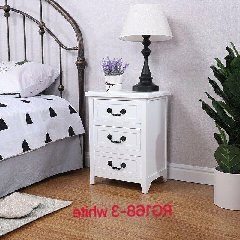 Set Nightstand End Storage Wood W/3 Drawer
