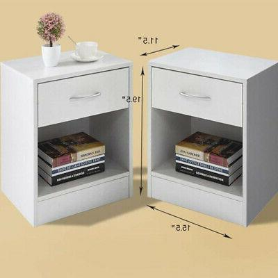 set of 2 nightstand solid wood end