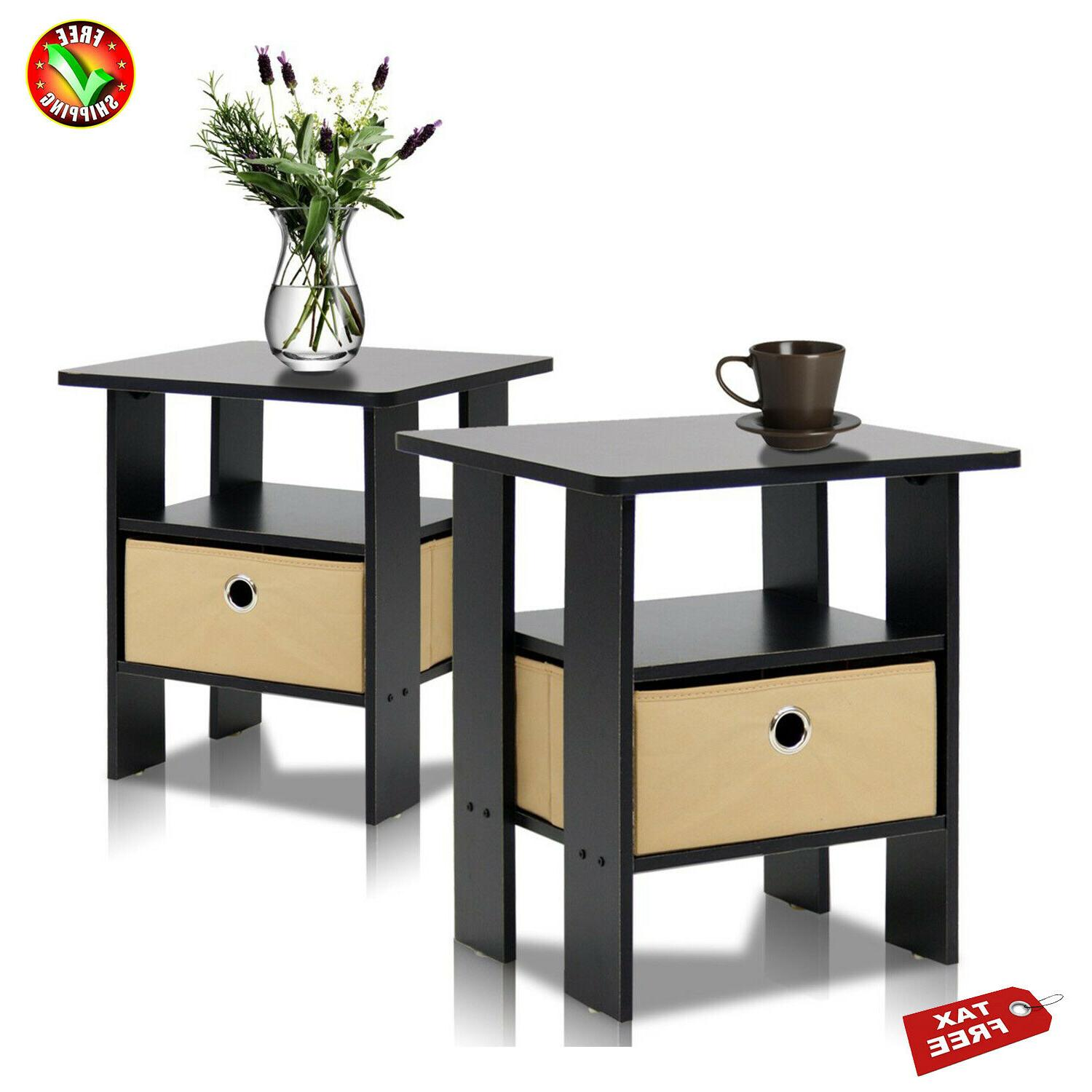 Set Of 2 Petite End Table Bedroom Night Stand Two Multiple F