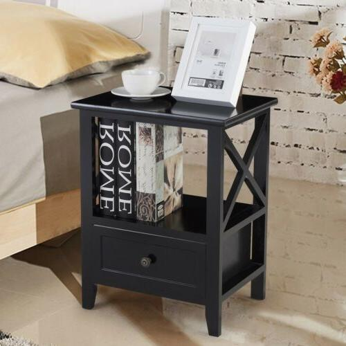 Set Sofa End Side Table Nightstands w/ Storage Drawer Bedroom