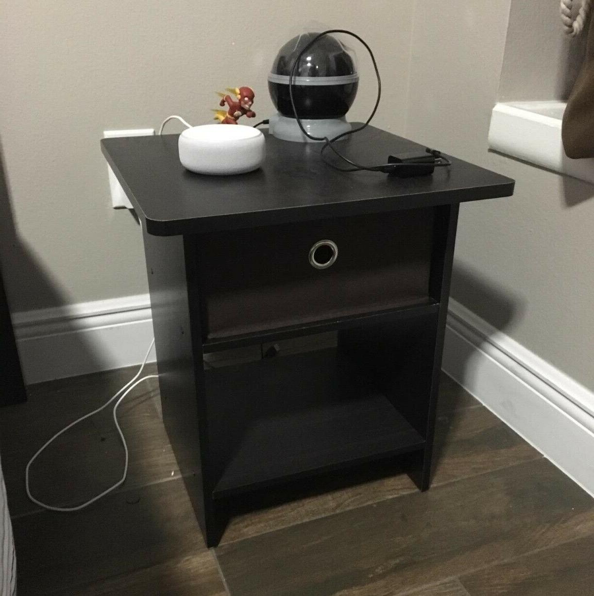 Side Spaces Bedside Stand Wood