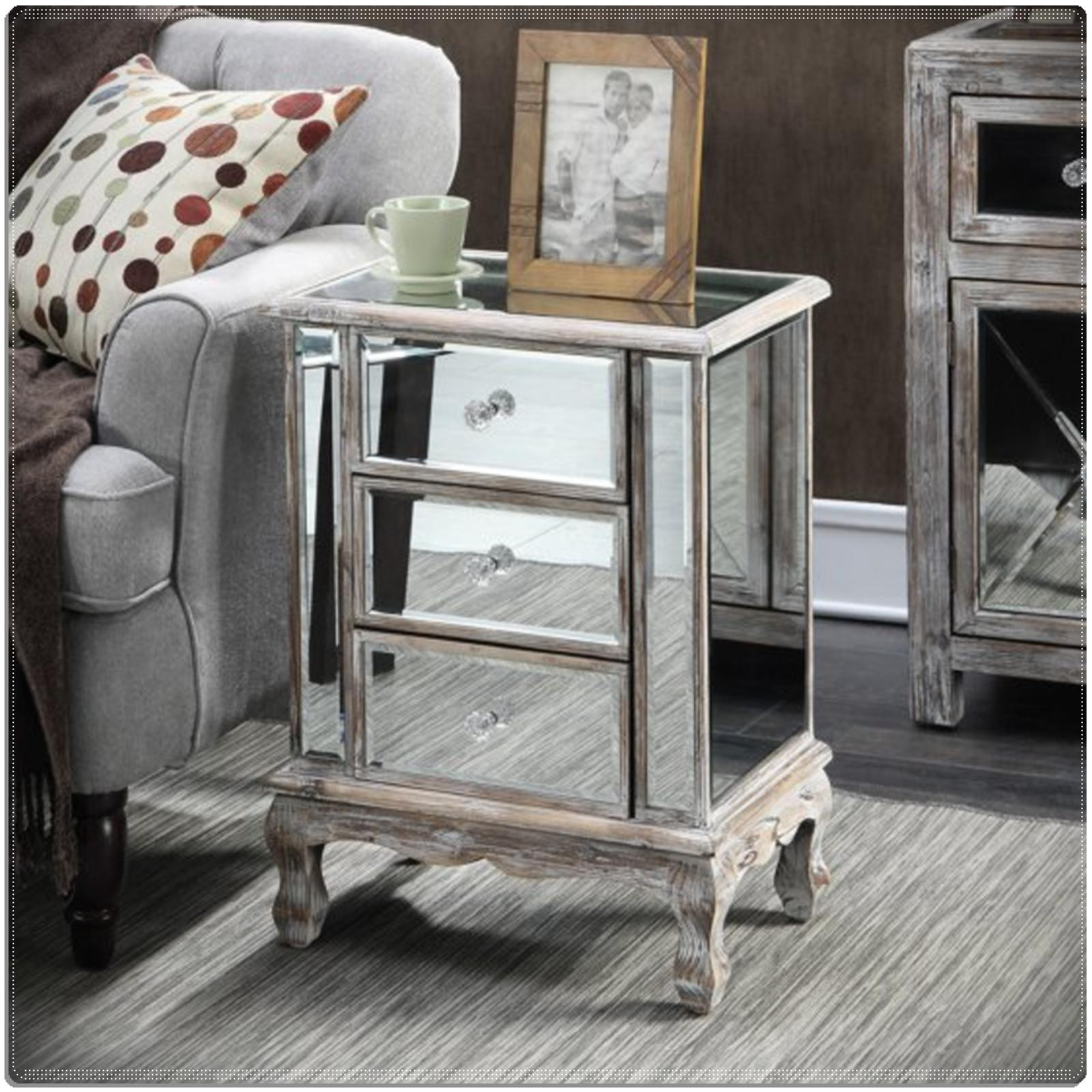 Small Low Nightstand Mirrored Table Mirror Accent Side End B